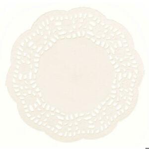 11 cm-es krémszínű kör csipkepapír 40 db-os csomag